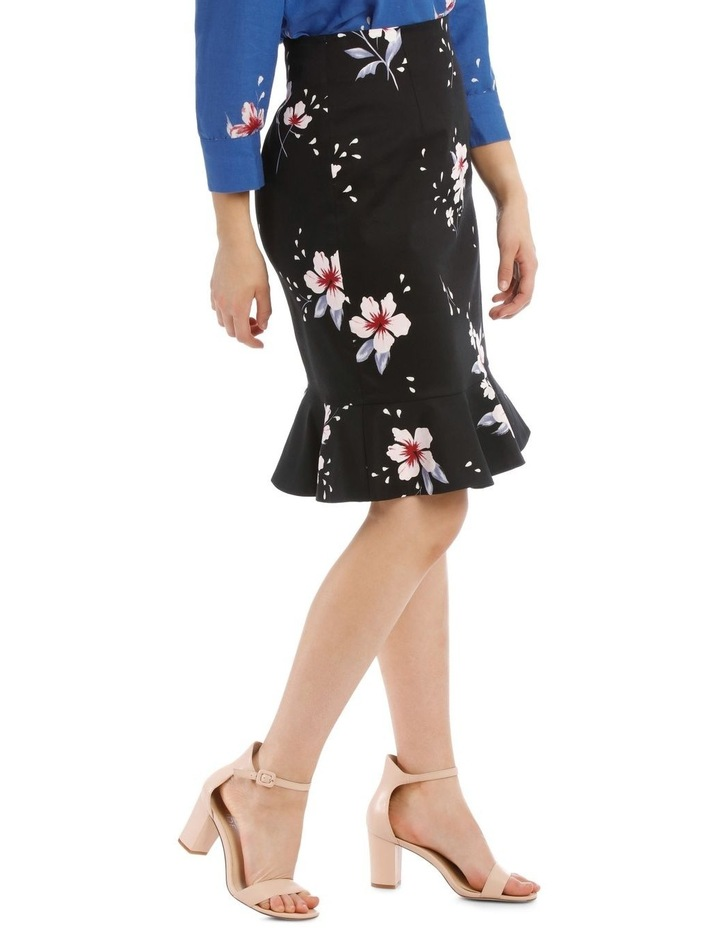 Large Bloom Frill Hem Pencil Skirt image 2