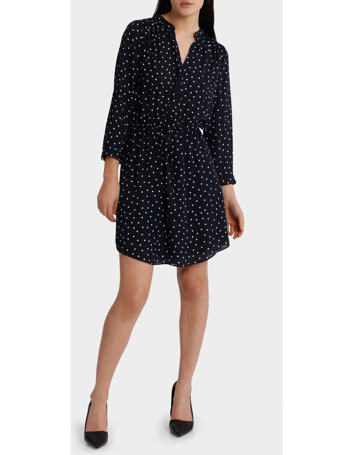 Spotted Frill Sleeve Shirt Dress image 1