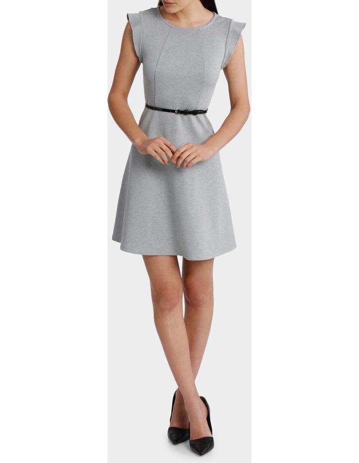 Flutter Sleeve Knit Dress with Belt image 1