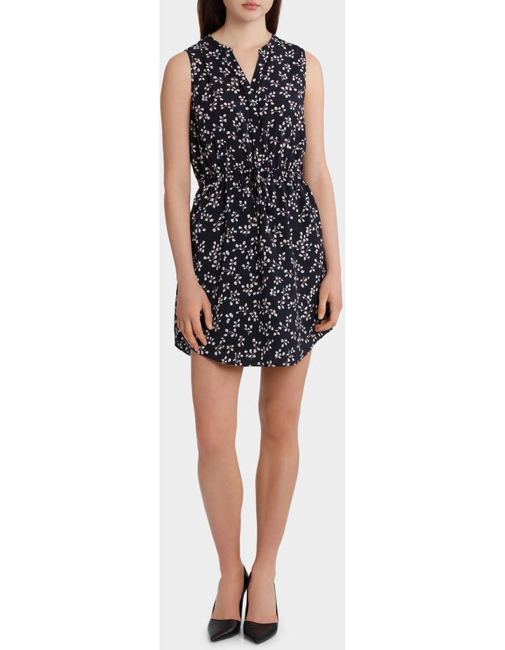 Elastic Waist Collarless Shirt Dress image 1