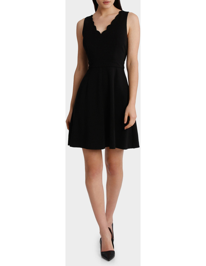 Scalloped Neck Fit And Flare Dress image 1