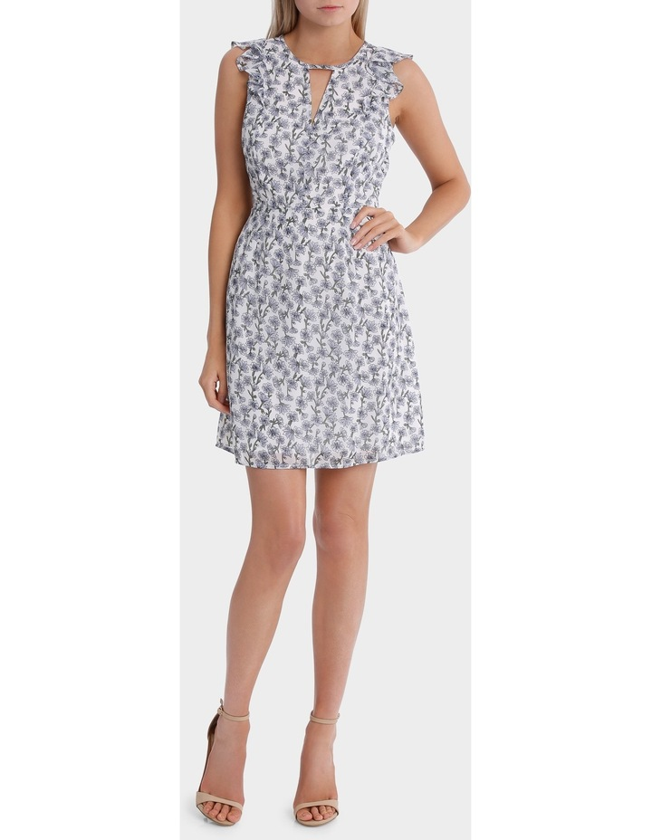 key hole frill sleeve dress - posey floral image 1