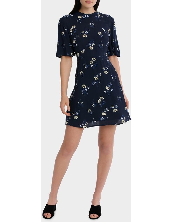 high neck waisted dress - poppy print image 1
