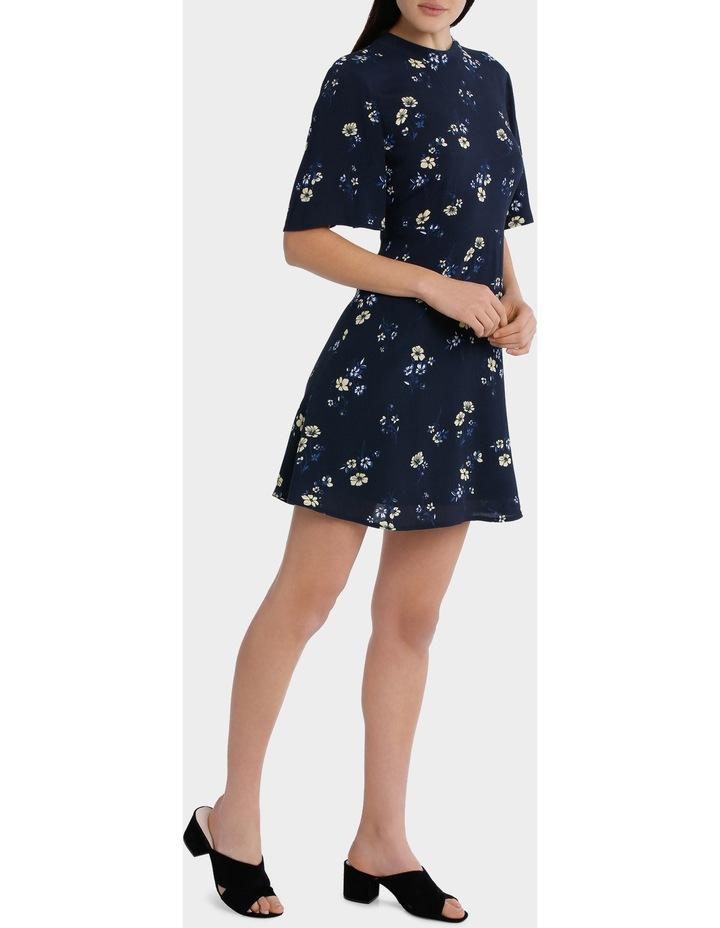 high neck waisted dress - poppy print image 2
