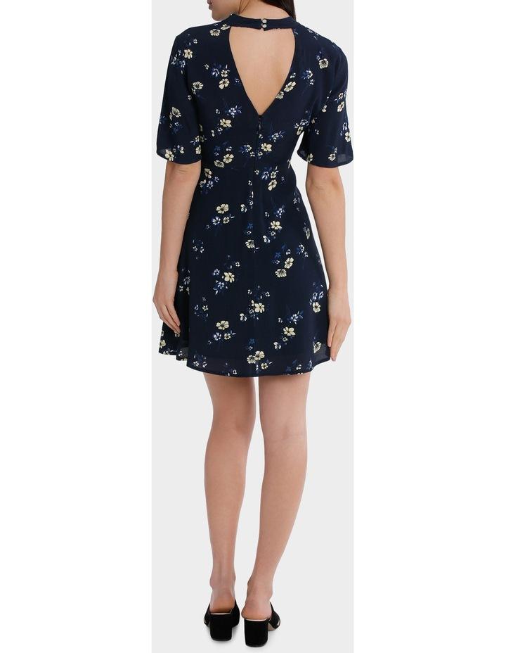 high neck waisted dress - poppy print image 3
