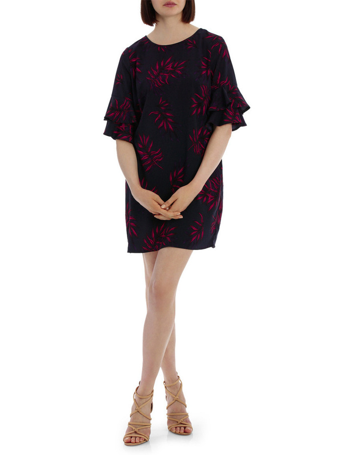 frill sleeve open back shift dress - tropical print image 1