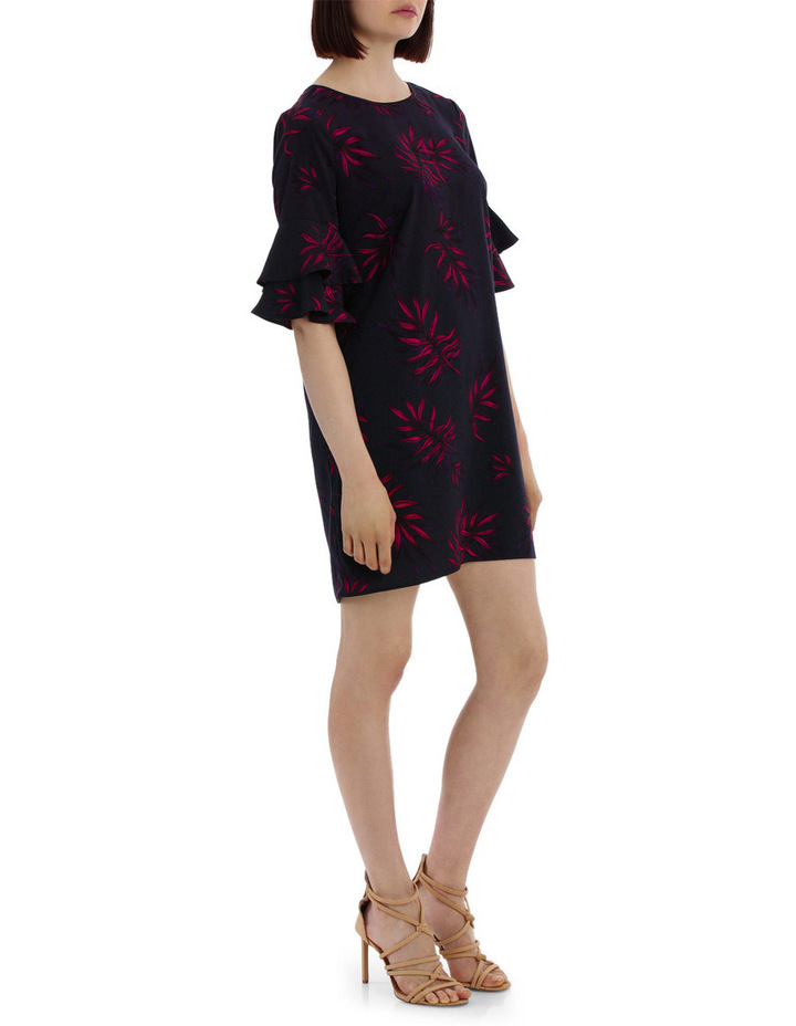 frill sleeve open back shift dress - tropical print image 2
