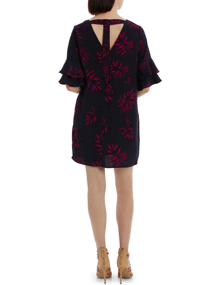 frill sleeve open back shift dress - tropical print image 3