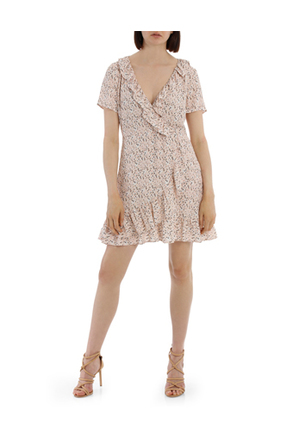 Tokito - Frilly Mock Wrap Work Dress - Scattered Daisy