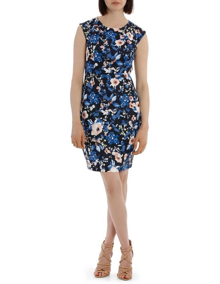 Textured Body Con Dress - Blurred Stencil Floral image 1