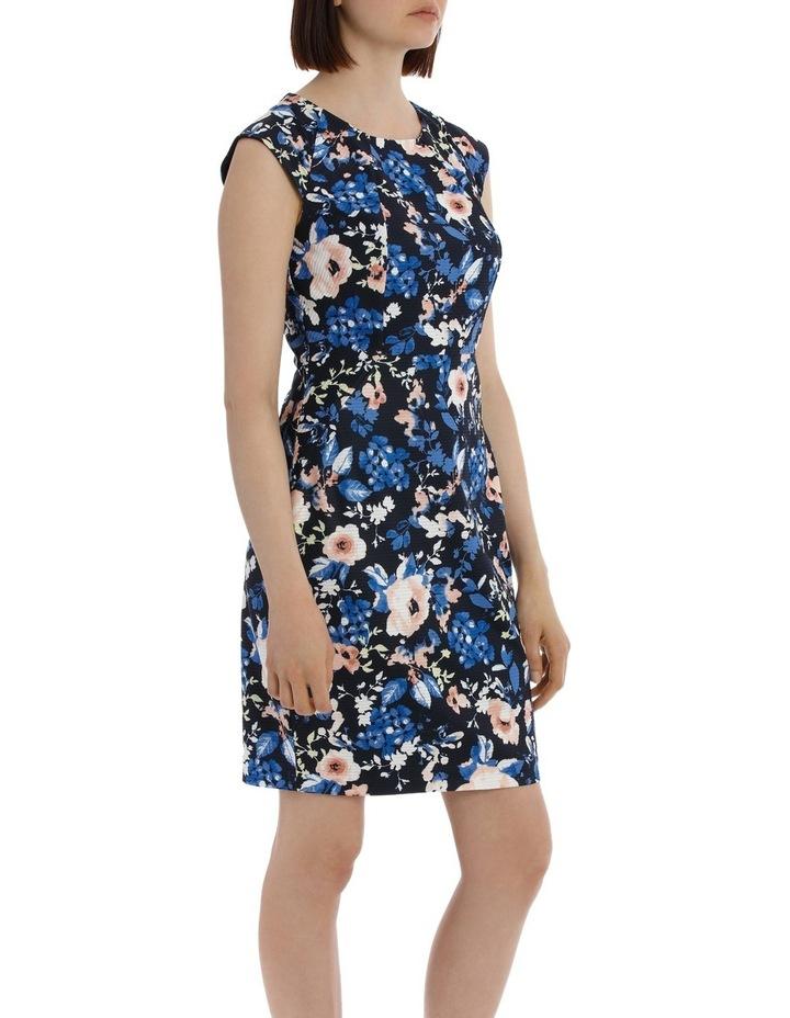 Textured Body Con Dress - Blurred Stencil Floral image 2