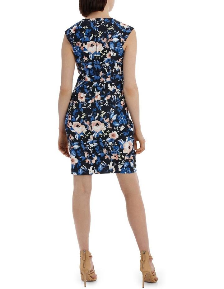 Textured Body Con Dress - Blurred Stencil Floral image 3