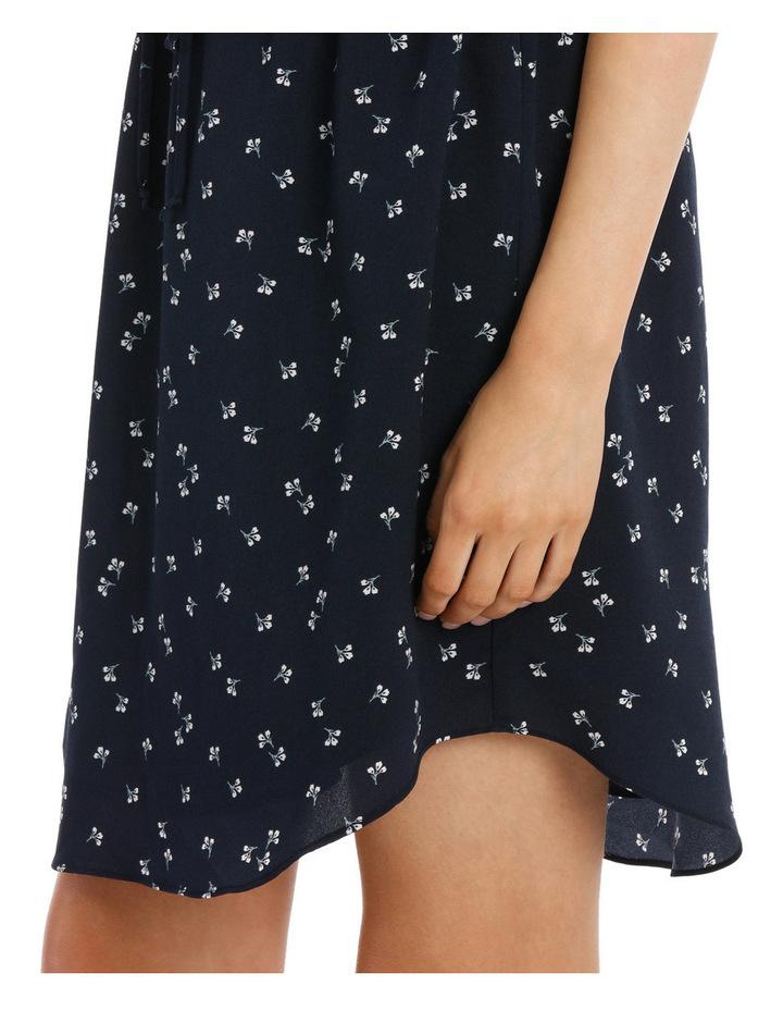 Elastic Waist Collarless Shirt Dress image 4