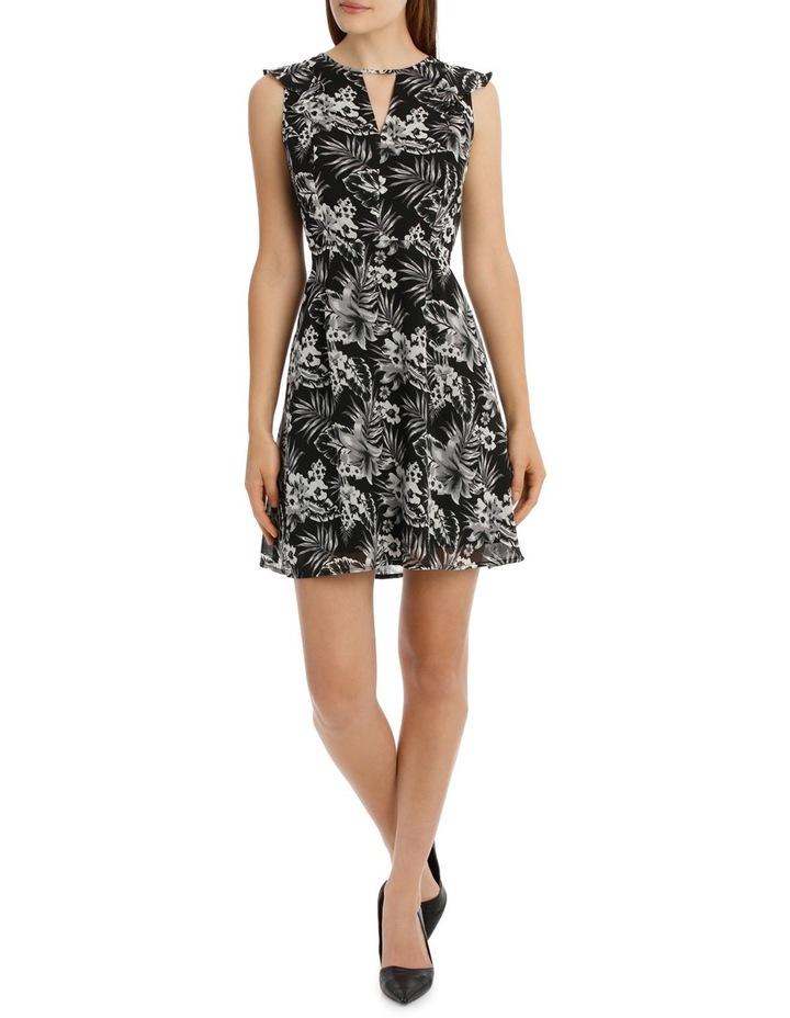 Key Hole Frill Sleeve Dress Tropical image 1