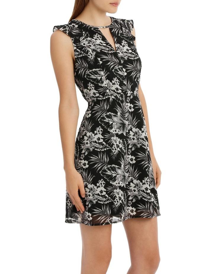 Key Hole Frill Sleeve Dress Tropical image 2