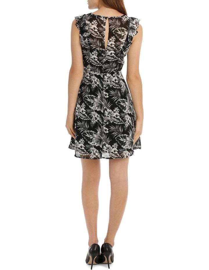 Key Hole Frill Sleeve Dress Tropical image 3