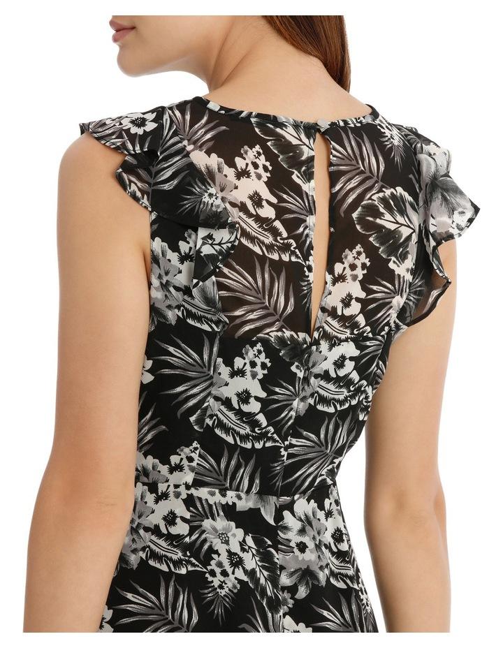 Key Hole Frill Sleeve Dress Tropical image 4