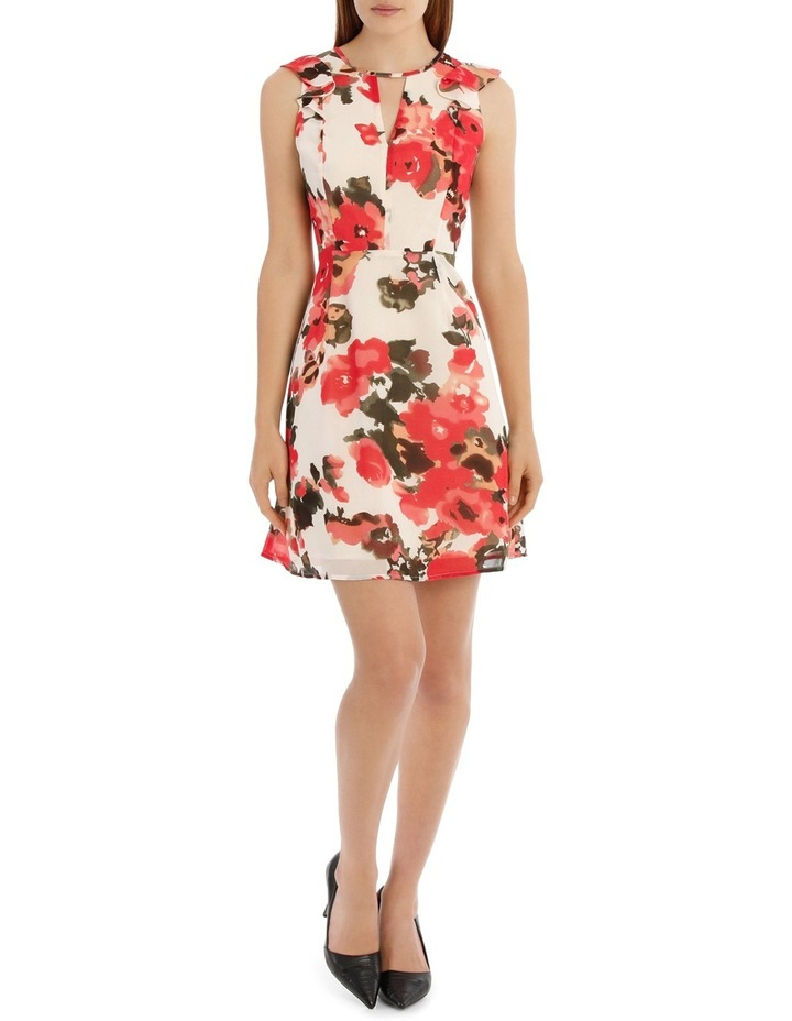 Key Hole Frill Sleeve Dress Water Colour Floral image 1