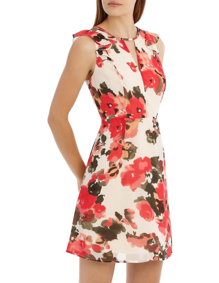 Key Hole Frill Sleeve Dress Water Colour Floral image 2