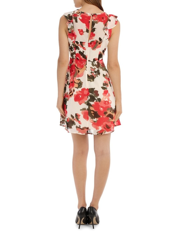 Key Hole Frill Sleeve Dress Water Colour Floral image 3