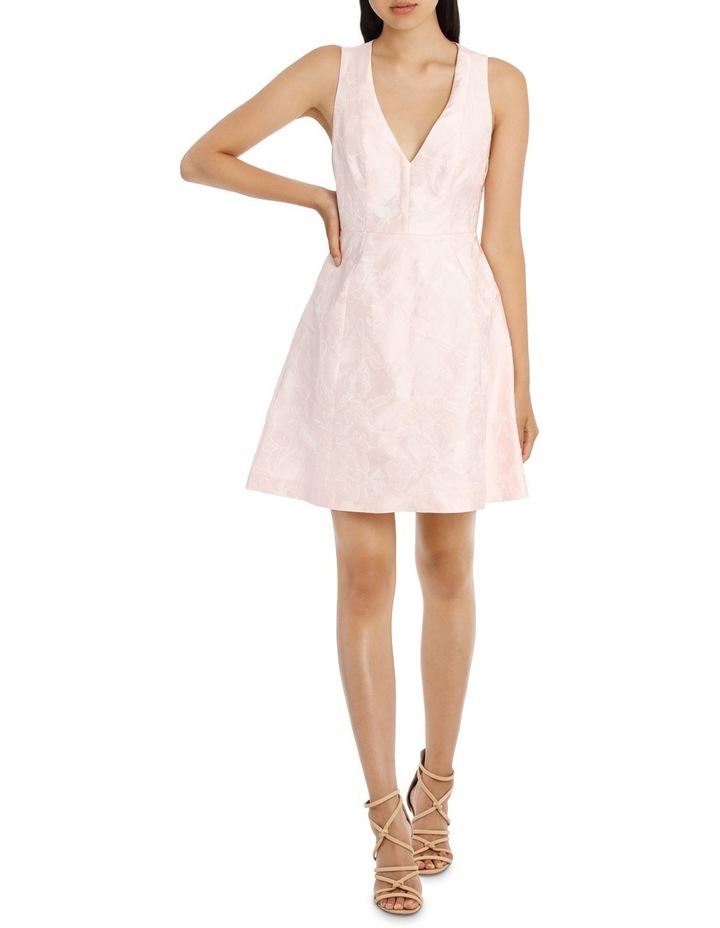 Deep V Box Pleat Jacquard Dress image 1