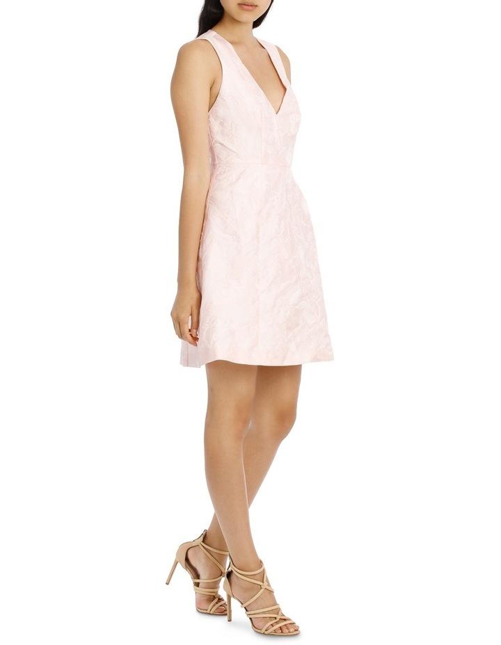 Deep V Box Pleat Jacquard Dress image 2
