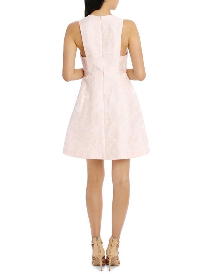 Deep V Box Pleat Jacquard Dress image 3