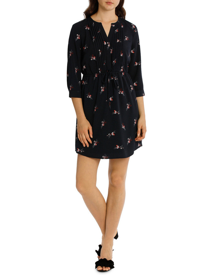 Pleat Front Shirt Dress - Spray Floral image 1