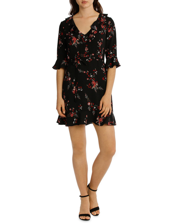Frill Neck Dress With Waist Tie - Cut Paper Floral image 1