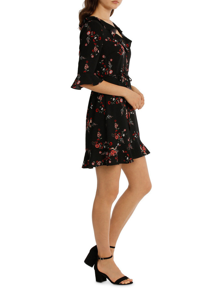 Frill Neck Dress With Waist Tie - Cut Paper Floral image 2