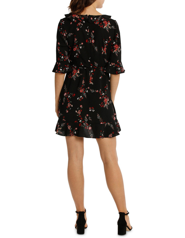 Frill Neck Dress With Waist Tie - Cut Paper Floral image 3