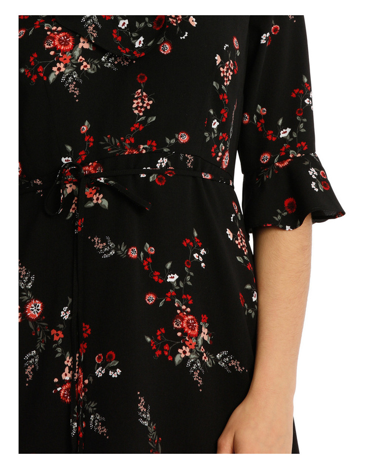 Frill Neck Dress With Waist Tie - Cut Paper Floral image 4