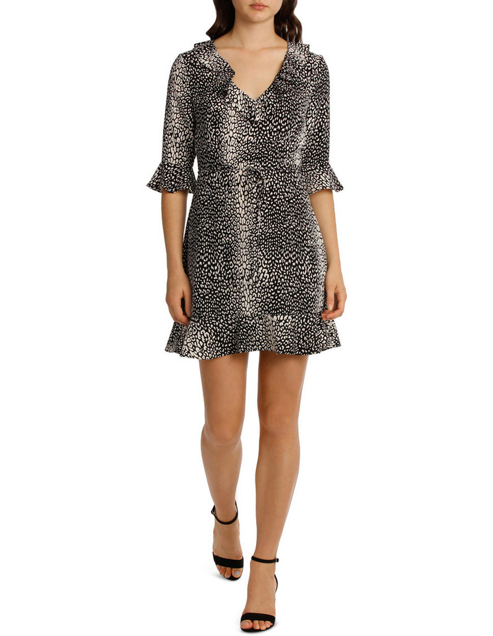 Frill Neck Dress With Waist Tie - Animal Print image 1