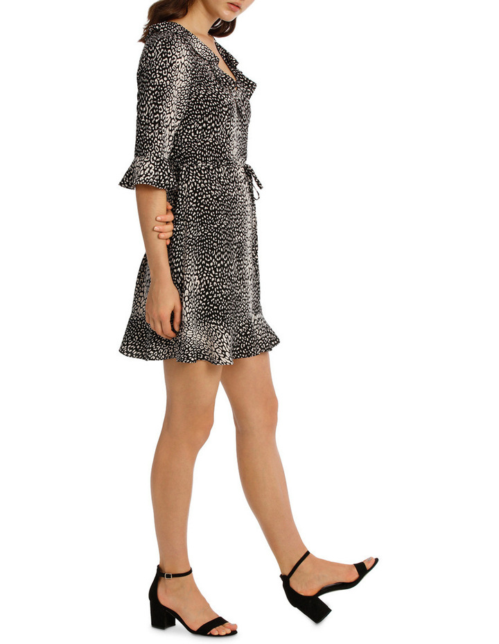 Frill Neck Dress With Waist Tie - Animal Print image 2