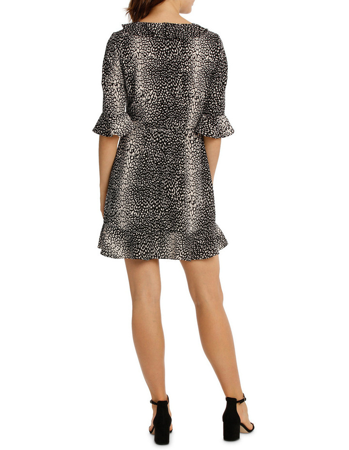 Frill Neck Dress With Waist Tie - Animal Print image 3