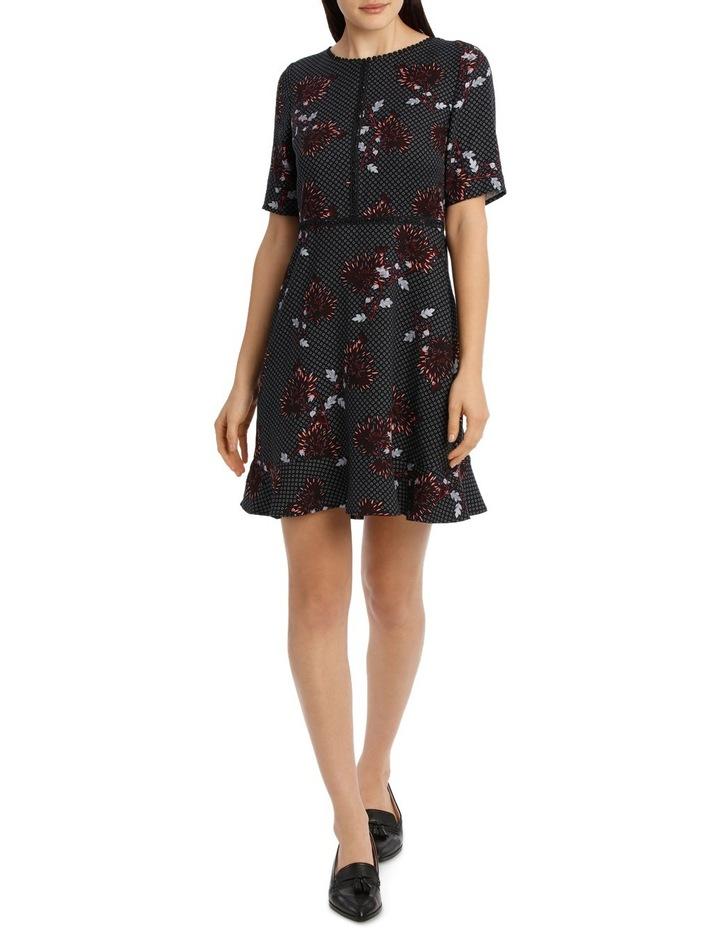 Lace Trim Print Dress - Burst Bloom image 1