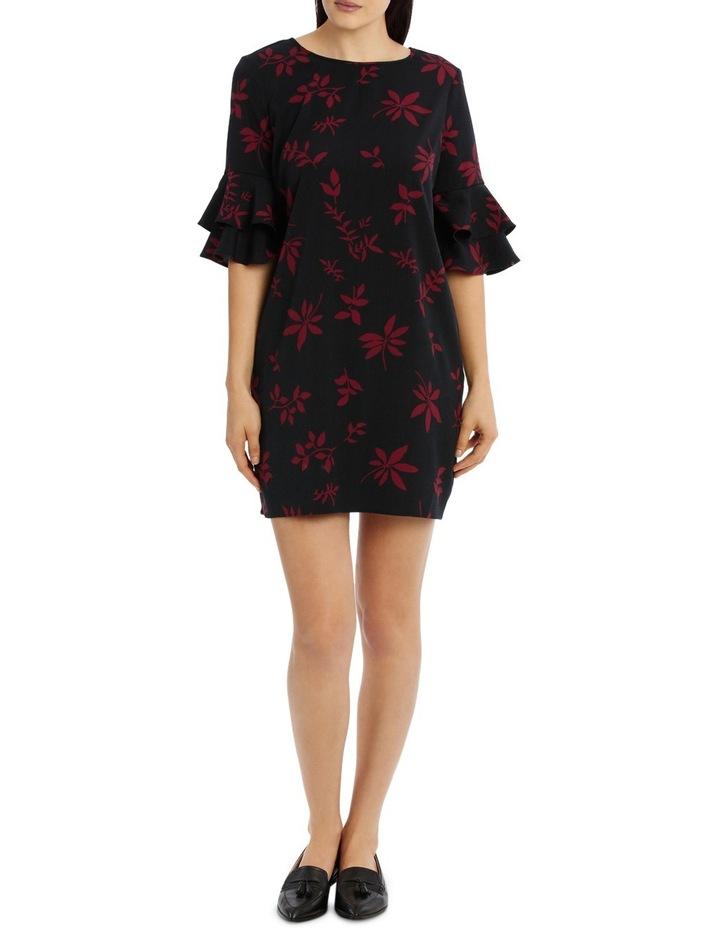 Frill Sleeve Shift Dress - Shaddow Folage image 1