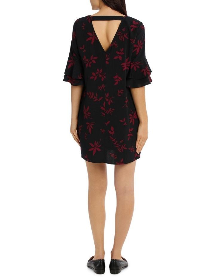 Frill Sleeve Shift Dress - Shaddow Folage image 3
