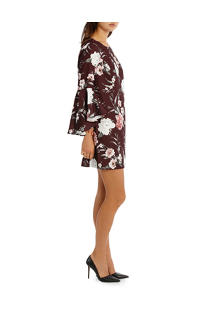 Tokito - Statement Sleeve Shift Dress - Burgandy