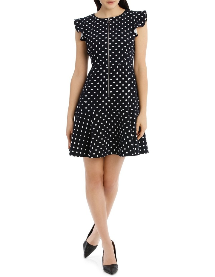 Zip Front Work Dress - Polka Dot image 1
