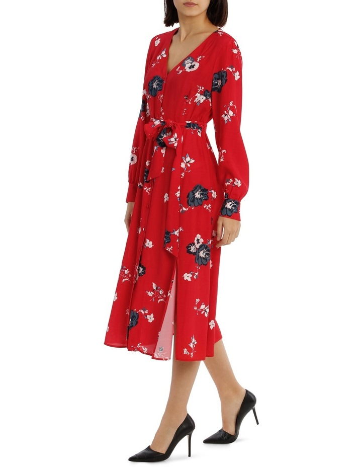 Button Front Midi Dress - Exploded Poppy Print image 2