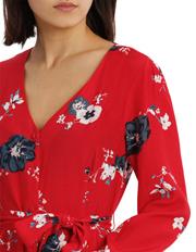 Tokito - Button Front Midi Dress - Exploded Poppy Print