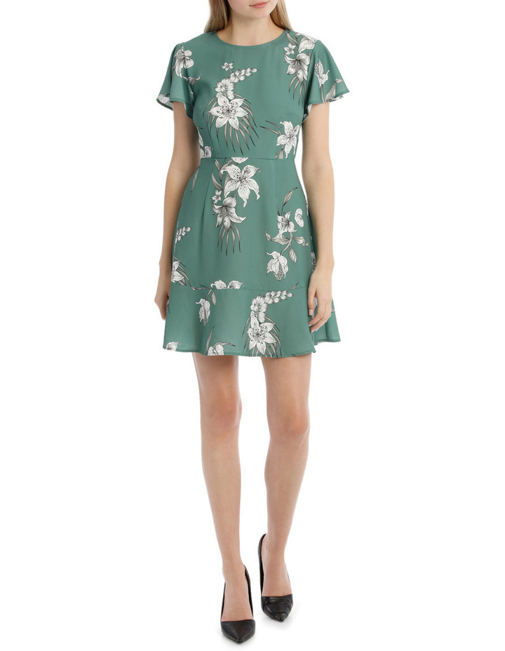 Flutter Sleeve Work Dress - Tropical Sketch image 1