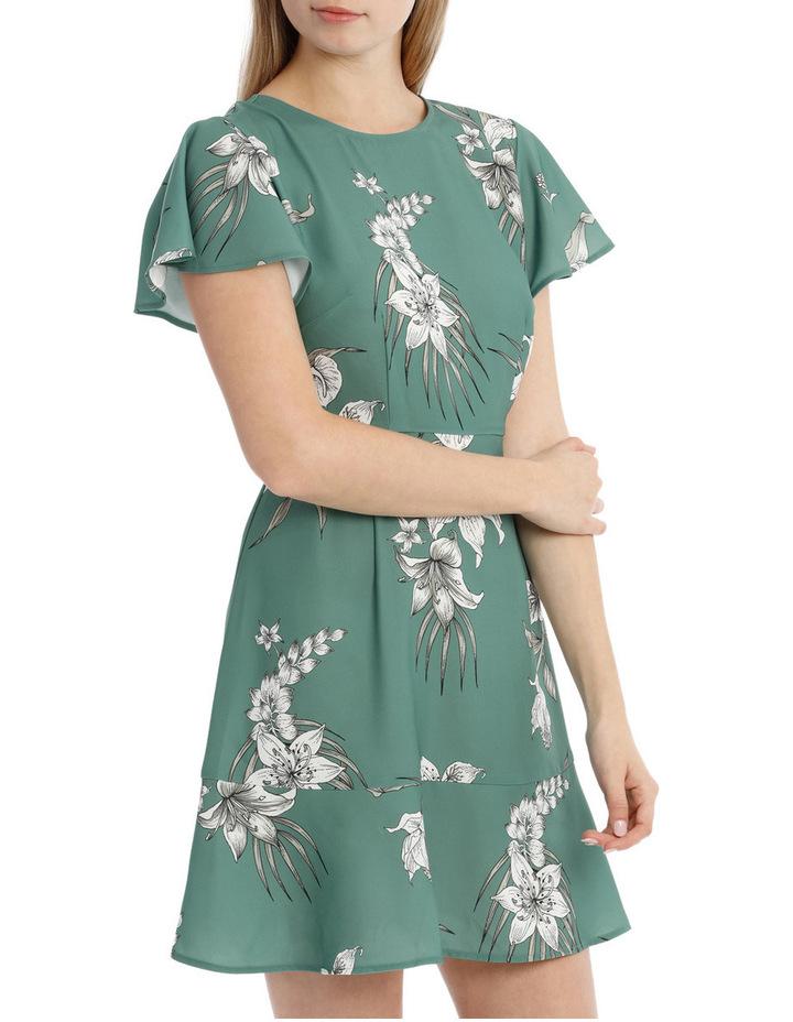 Flutter Sleeve Work Dress - Tropical Sketch image 2
