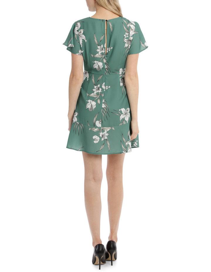 Flutter Sleeve Work Dress - Tropical Sketch image 3