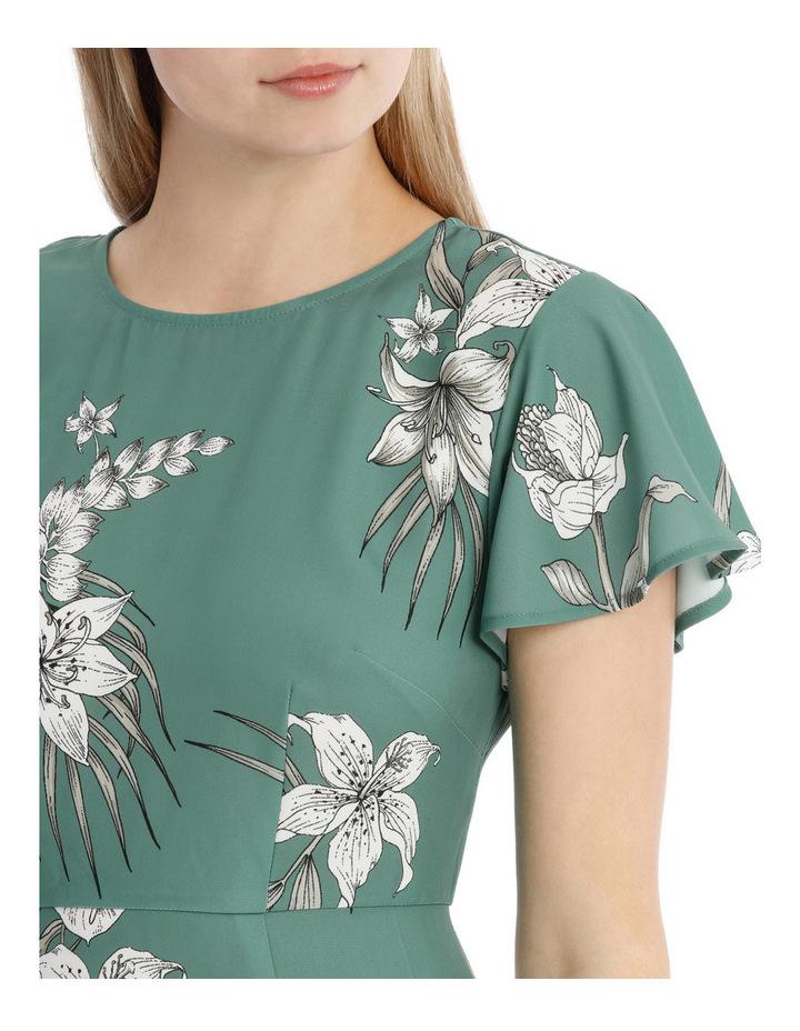 Flutter Sleeve Work Dress - Tropical Sketch image 4