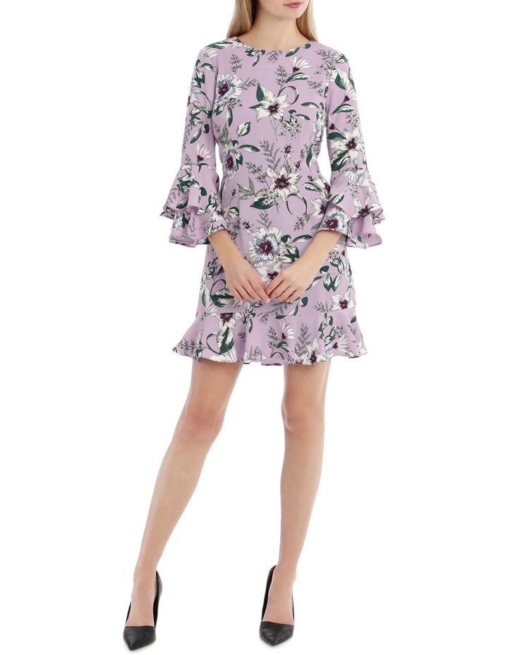 Statement Sleeve Shift Dress With Hem Frill - Tropical Floral image 1