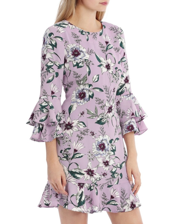 Statement Sleeve Shift Dress With Hem Frill - Tropical Floral image 2