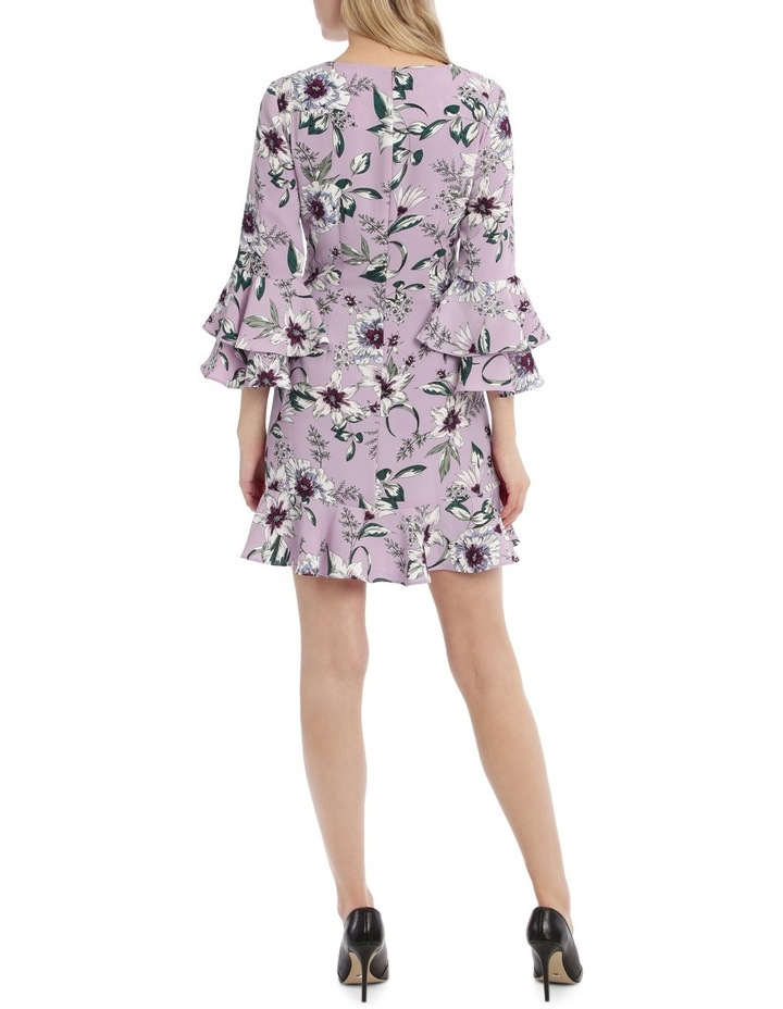 Statement Sleeve Shift Dress With Hem Frill - Tropical Floral image 3