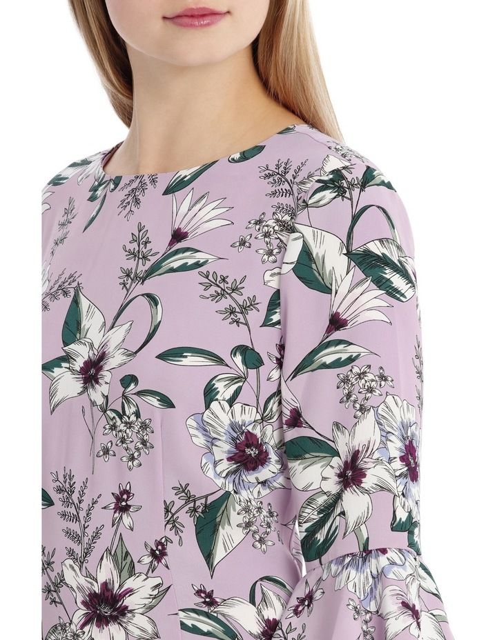 Statement Sleeve Shift Dress With Hem Frill - Tropical Floral image 4